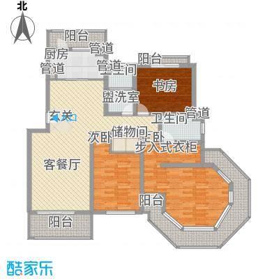 金座领海世嘉167.29㎡一梯两户布局户型3室2厅2卫1厨