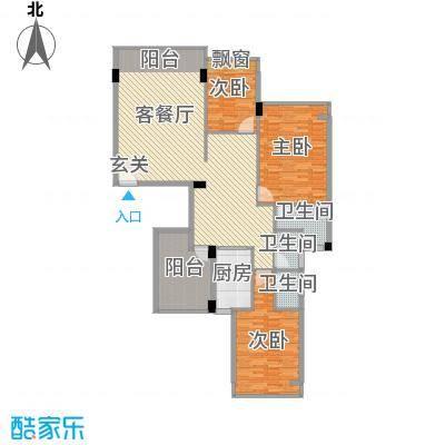 锦绣旗峰151.82㎡锦绣旗峰户型图3-4栋标准层A4户型3室2厅3卫1厨户型3室2厅3卫1厨