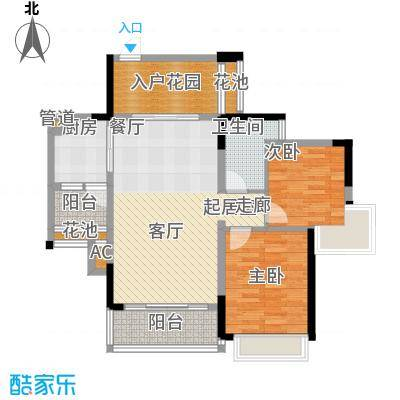 麒麟湾84.15㎡麒麟湾户型图1栋2-13层A2户型2室2厅1卫1厨户型2室2厅1卫1厨