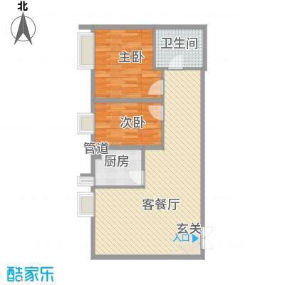 恒实城市广场・新城市花园户型图5-4-03-D3户型 2室2厅1卫1厨