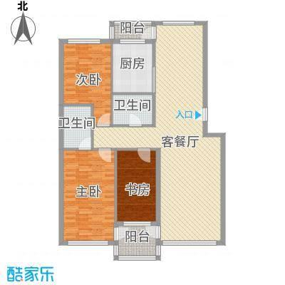 金润花园三期户型图155#、92b#楼E户型 3室2厅2卫1厨