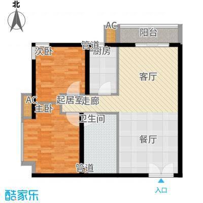 景泰翰林84.00㎡户型H2户型2室2厅1卫1厨