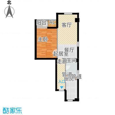 景泰翰林94.00㎡户型H1户型1室2厅1卫1厨