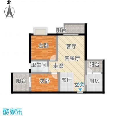 上河城85.11㎡上河城户型图11-2-B2室2厅1卫1厨户型2室2厅1卫1厨