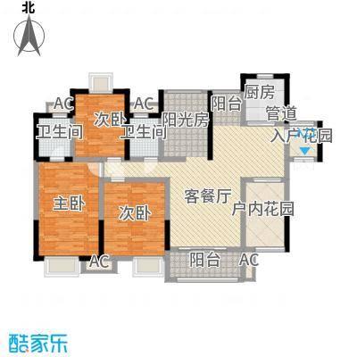 世纪城幸福公馆129.00㎡世纪城幸福公馆户型图4栋奇数层宝格丽户型图3室2厅2卫1厨户型3室2厅2卫1厨