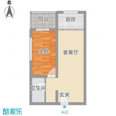 富康苑新区户型图2号楼C户型 1室1厅1卫1厨