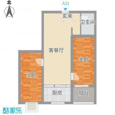富康苑新区户型图2号楼D户型 2室2厅1卫1厨