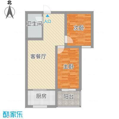 富康苑新区户型图2号楼E户型 2室2厅1卫1厨