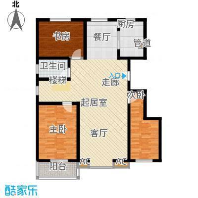 长风・香舍里项目户型图3#楼E1户型 3室2厅2卫1厨