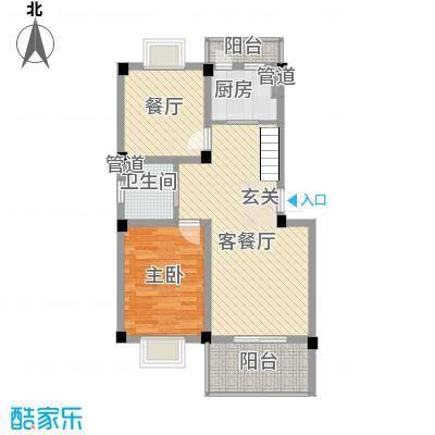 众恒紫园户型图G上层 2室1厅1卫