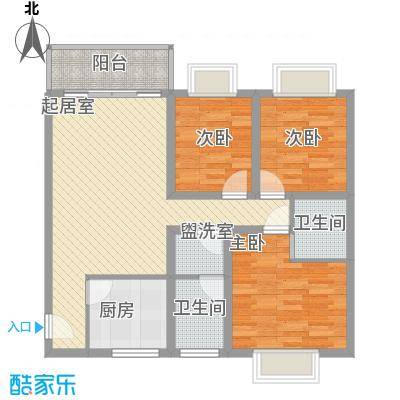 云凯熙园户型图D户型 3室2厅2卫1厨