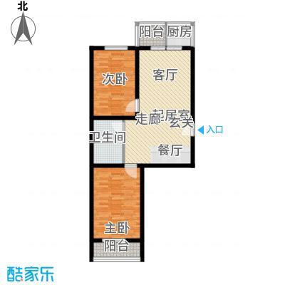 钢府逸居户型图H户型 2室2厅1卫1厨