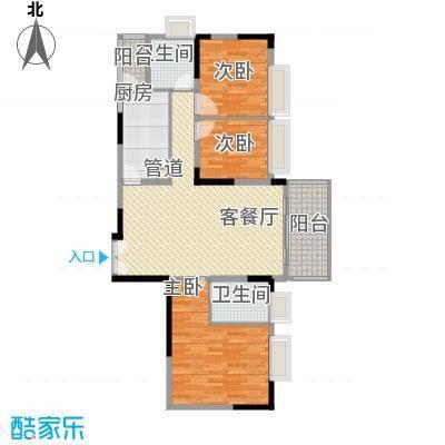 滨江花园114.49㎡滨江花园户型图2栋美景天成2单元标准层02户型3室2厅2卫户型3室2厅2卫
