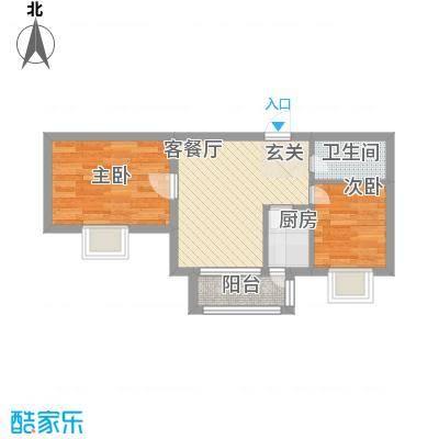 万达杰座50.90㎡B栋50.90平米户型2室1厅1卫1厨