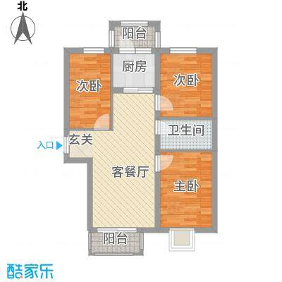 万达杰座78.44㎡B栋78.44平米户型3室1厅1卫1厨