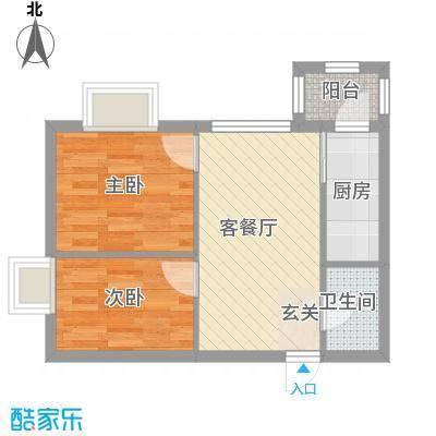 万达杰座51.42㎡B栋51.42平米户型2室1厅1卫1厨