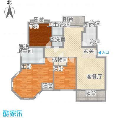 金座领海世嘉175.00㎡一梯两户布局户型3室2厅2卫1厨