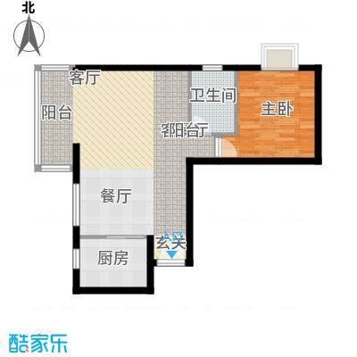 裕华嘉苑65.00㎡C-05户型1室户型1室2厅1卫1厨