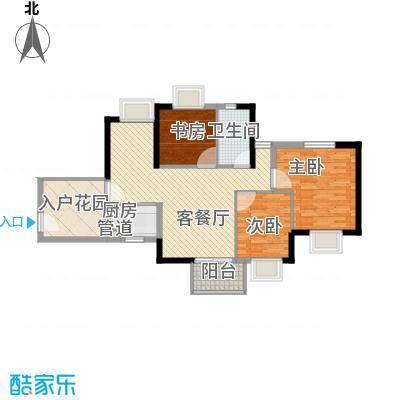 香树丽舍户型图6栋02单位标准层F户型 3室2厅1卫1厨