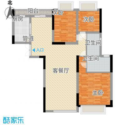 合正上东国际127.83㎡合正上东国际3室户型3室