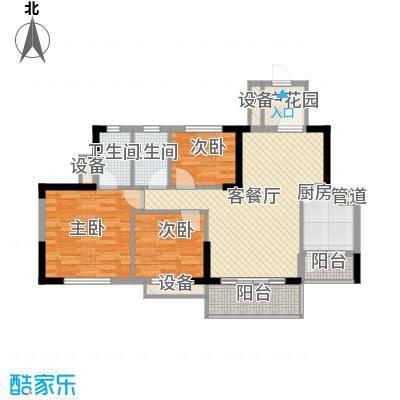 东海名都89.00㎡东海名都户型图4-6号楼4-16层偶数层04单元3室2厅2卫户型3室2厅2卫