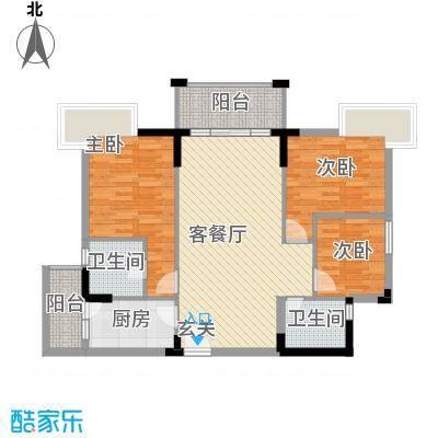 丰泰裕田花园108.00㎡丰泰裕田花园户型图3室2厅2卫1厨户型10室