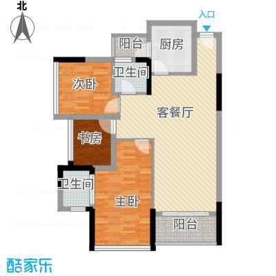 鼎峰品筑二期91.75㎡鼎峰品筑二期户型图16号楼南北向03、04户型图3室2厅2卫户型3室2厅2卫