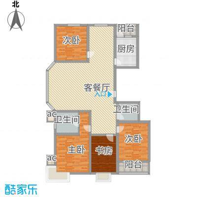 银海水韵户型图A户型 4室2厅2卫