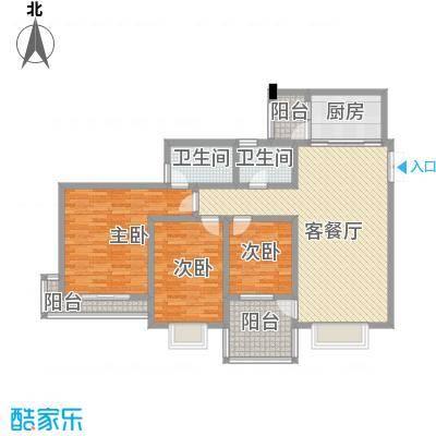 兴隆城市花园二期户型图3室2厅2卫1厨