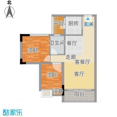 东田山畔华庭户型图2栋01、02户型82.32㎡二房一卫 2室1厅1卫1厨