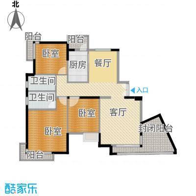 百悦尚城112.25㎡户型1厅2卫1厨