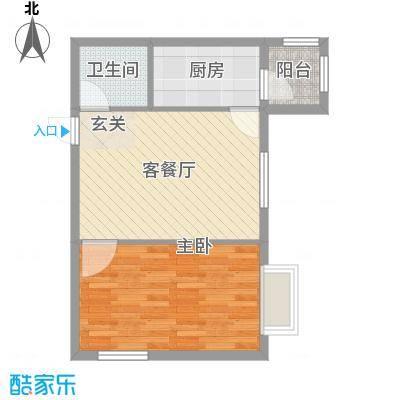 万达杰座40.28㎡A栋40.28平米户型1室2厅1卫1厨