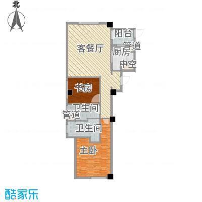绿城�园户型图�悦A1户型 2室2厅1卫2厨