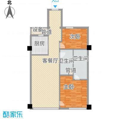 绿城�园户型图�悦A5户型 2室2厅1卫2厨