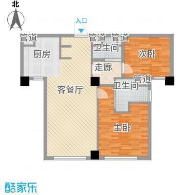 绿城�园户型图�悦A7'户型 3室2厅1卫2厨