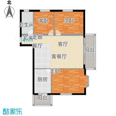 富丽国际118.22㎡E户型3室2厅1卫1厨
