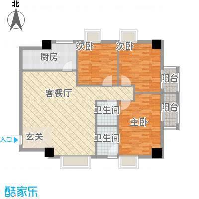大唐长风外事国际公寓大唐长风上街户型3室1厅2卫1厨