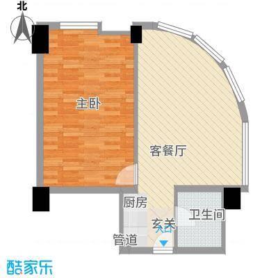 东方云顶76.01㎡东方云顶户型图住宅A1户型2室1厅1卫1厨户型2室1厅1卫1厨