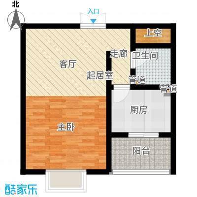 华龙苑景台52.25㎡E户型1室2厅1卫1厨
