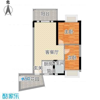 香樟国际.76.03㎡香樟国际.户型图2栋标准层D1户型2室2厅1卫户型2室2厅1卫