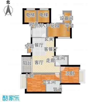 嘉信城市花园五期户型图1座四至十六层平面图  2室2厅2卫