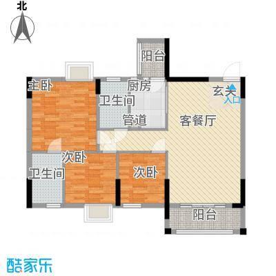 逸林首府户型图一座03单位87.48 3室2厅2卫1厨