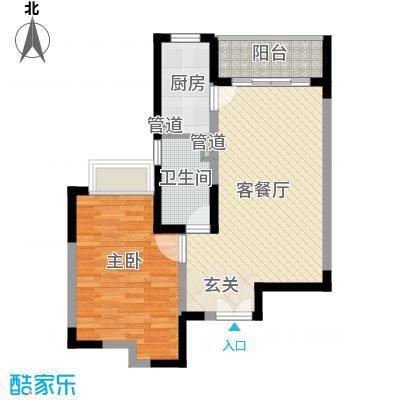新世纪星城三期户型图35栋标准层H3户型 1室2厅1卫