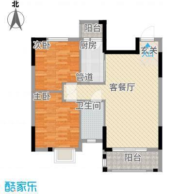 逸林首府户型图6座04户型 2室2厅1卫1厨