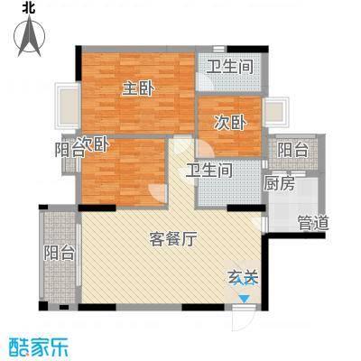 逸林首府户型图5座01户型 3室2厅1卫1厨