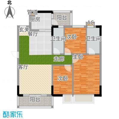 蓝色海岸96.00㎡蓝色海岸户型图A座二-二十六层01户型3室2厅2卫户型3室2厅2卫