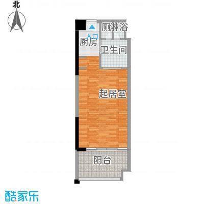 合景・汀澜海岸53.46㎡公寓E户型1室1厅1卫