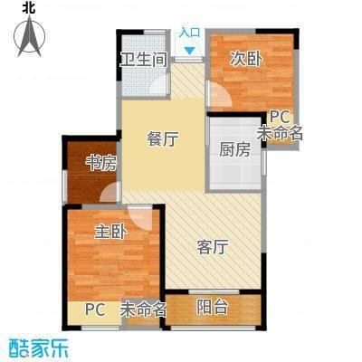 圣联香御公馆78.00㎡户型3室2厅1卫