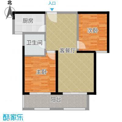 华地紫园88.00㎡户型2室2厅1卫