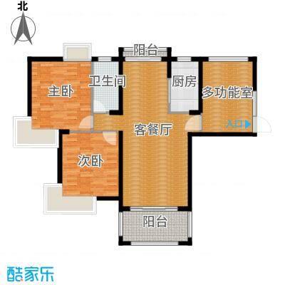 国贸天琴湾121.48㎡6号楼D1+入户花园户型2室2厅1卫
